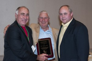 """2016 SPRI Recipient of the Science and Technology Award. Robert """"Bob"""" Hatch, center, along with Charley Richard, left and Ron Kawlewski, right."""